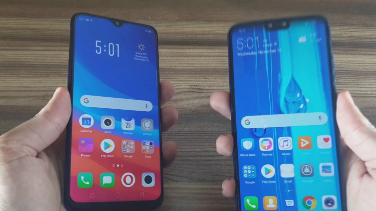 مقارنة بين هاتفي Oppo F9 و Huwawei Y9
